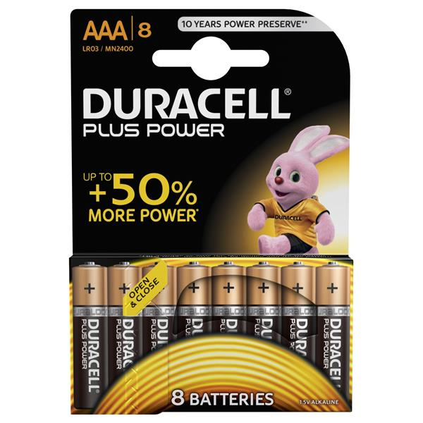 Duracell Plus Power Pila Alcalina AAA LR03 Pack 8