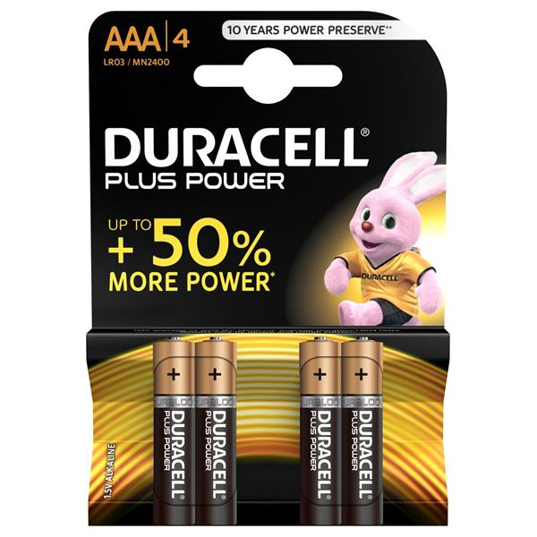 Duracell Pila Alcalina Plus Power LR3 AAA PACK-4