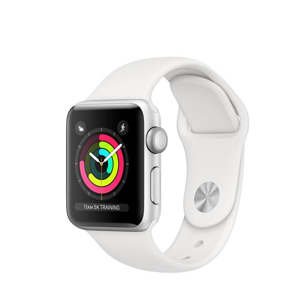 APPLEWATCH S3 GPS 38MM SILVER ALUM CASE WHITE IN