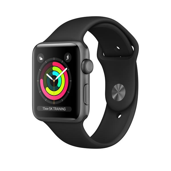 APPLEWATCH S3 GPS 42MM SPACE GREY ALUM CASE BLACK IN