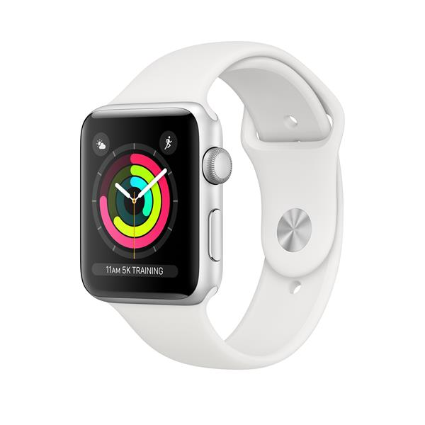 APPLEWATCH S3 GPS 42MM SILVER ALUM CASE WHITE IN