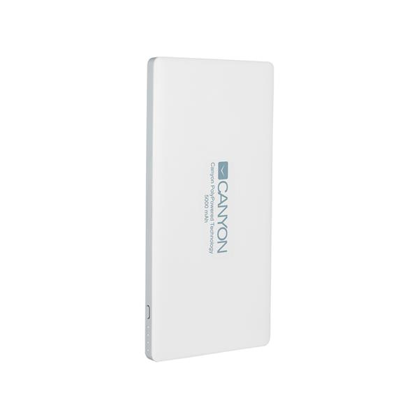 CANYON Power Bank 5.000mAh con Smart IC entrada 5V/2A  salida 5V/2A(Max)  Blanco CNS-TPBP5W