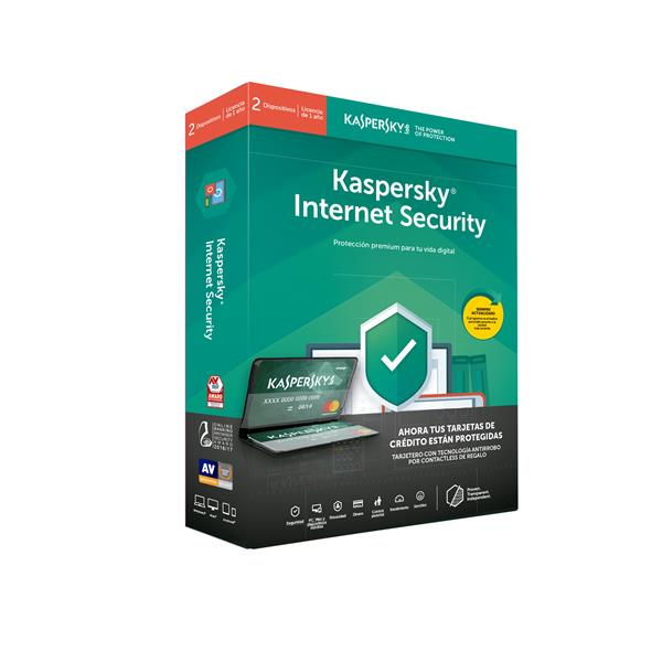 Antivirus Kaspersky Kis Internet Security 2020 - 2 Dispositivos, 1 años + tarjetero de regalo