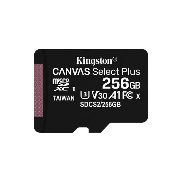 256GB MICROSDXC CANVAS SELECT 100R A1 C10 SP W/O ADAPT ER