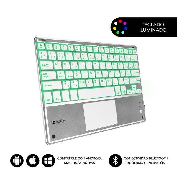SUBBLIM SMART BACKLIT BT KEYBOARD TOUCHPAD SILVER