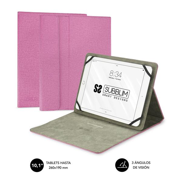 """SUBBLIM CLEVER STAND TABLET CASE 10,1"""" PINK"""