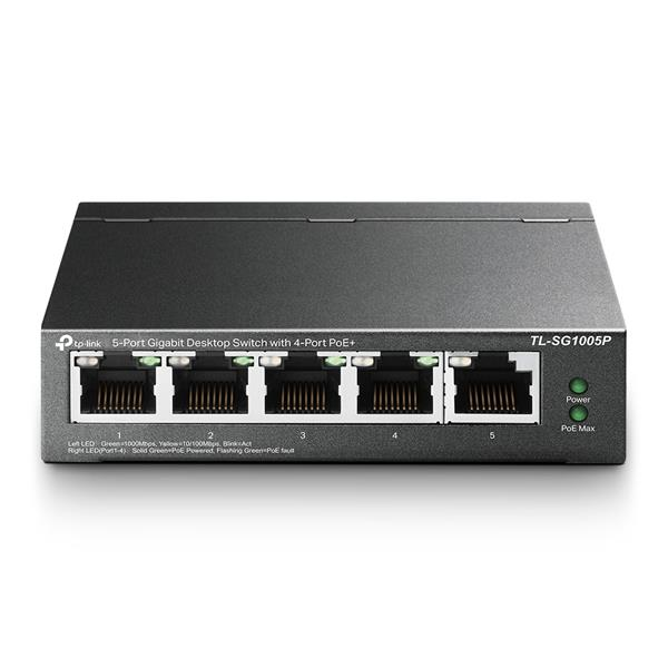 Switch TP-LINK GIGABIT, TL-SG1005P, 4-Port, POE - Negro