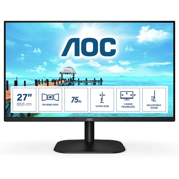 "Monitor PC 27"" Aoc Lcd 1920x1080 16:9 4Ms 1000:1 VGA HDMI IPS 75Hz - Beep"