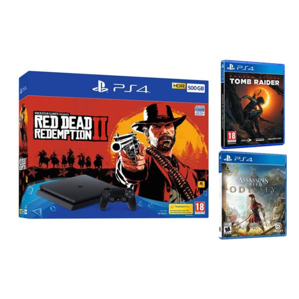 Sony Playstation 4 500GB + Red Dead Redemption 2 + Assassin´s Creed Odyssey + Shadow of the Tomb Raider