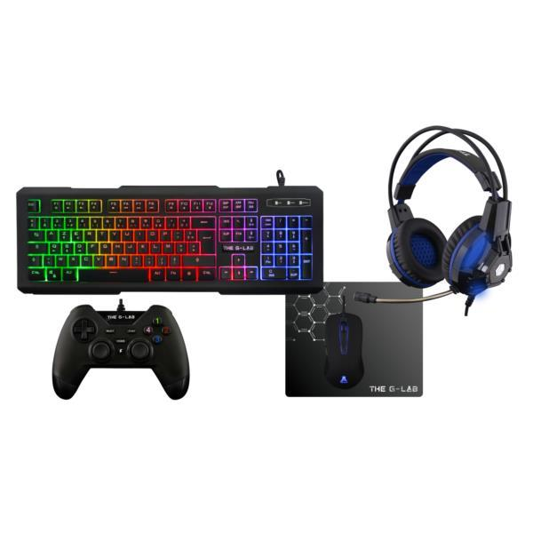 PACK TECLADO + RATON + GAMEPAD + AURICULAR + ALFOMBRILLA GAMING THE G-LAB PALADIUM