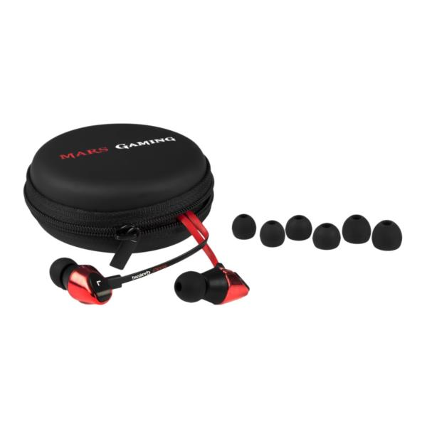 AURICULARES + MICRO MARS GAMING MIH2 IN-EAR NEGRO/ ROJO JACK 3.5MM