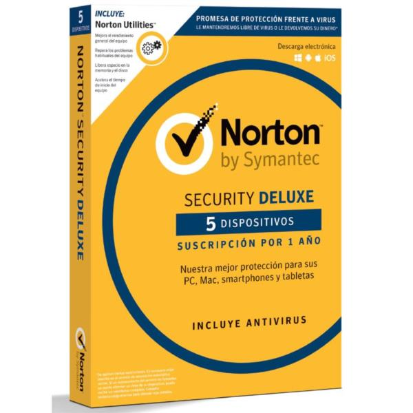 ANTIVIRUS NORTON SECURITY DELUXE 5 EQUIPOS + NORTON UTILITIES 1 AÑO WINDOWS / MAC / ANDROID / IOS