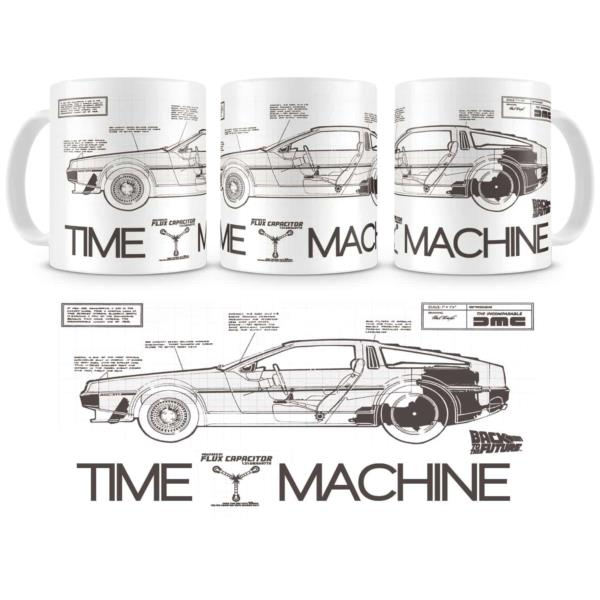 TAZA CERAMICA BACK TO THE FUTURE TIME MACHINE REGRESO AL FUTURO