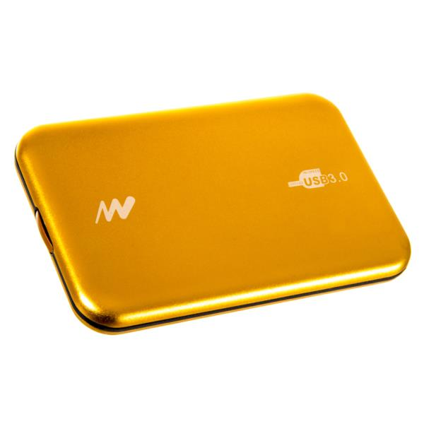 "CAJA EXTERNA SHIELD ALUMINIO HDD 2.5"" NETWAY USB 3.0 SCREWLESS AMARILLO"